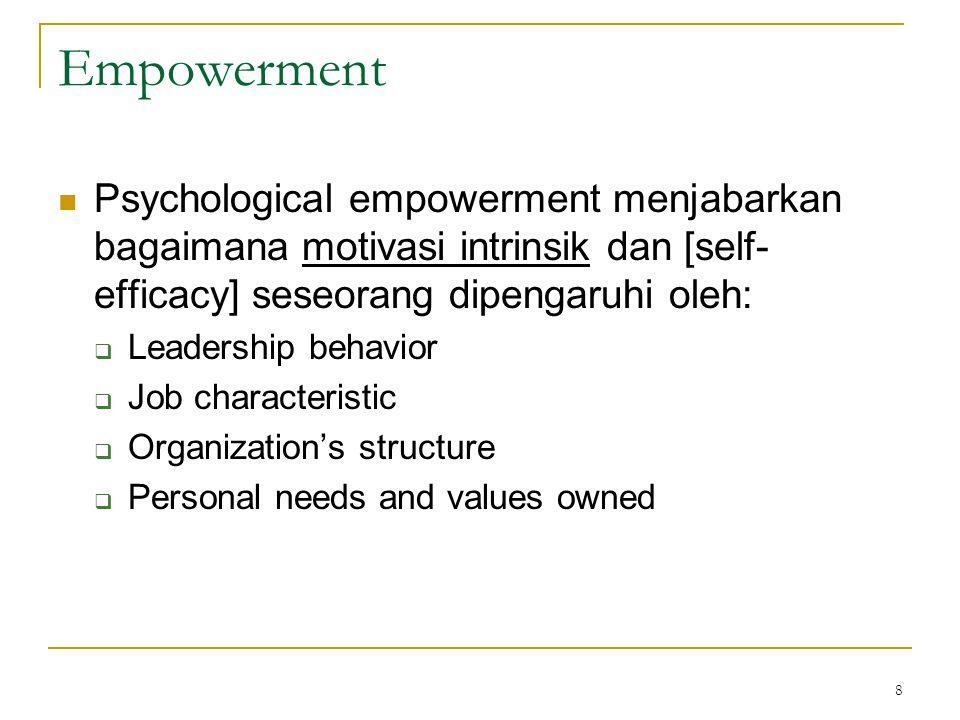Empowerment Psychological empowerment menjabarkan bagaimana motivasi intrinsik dan [self-efficacy] seseorang dipengaruhi oleh: